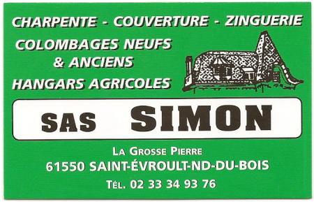 Carte de visite Charpentes Couvertures Simon
